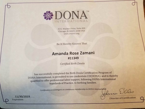 Amanda Rose Birth and Postpartum Doula Profile