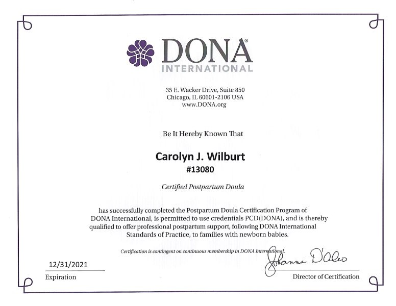 certified board lactation consultant wilburt carolyn rn doula dona certifications cpd evaluating important learn doulamatch