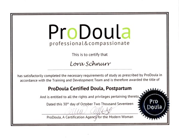 Lora Schnurr Birth and Postpartum Doula Profile