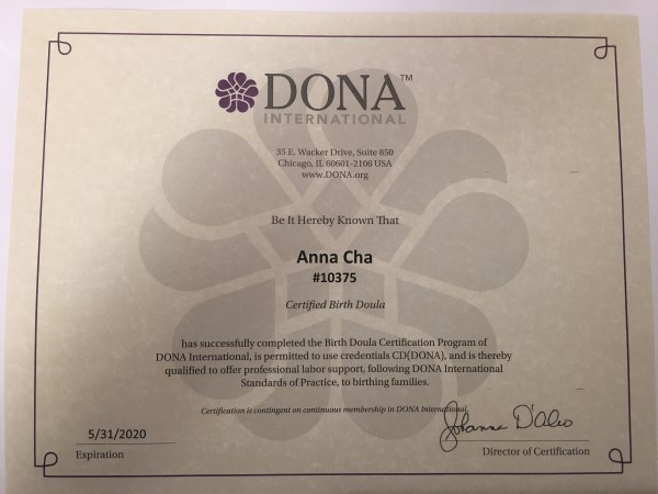 Anna Cha CD(DONA) Birth Doula Profile